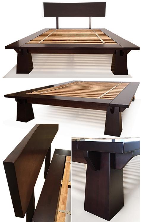 TALL Wakayama Platform Bed Dark Walnut in 2020 Wooden
