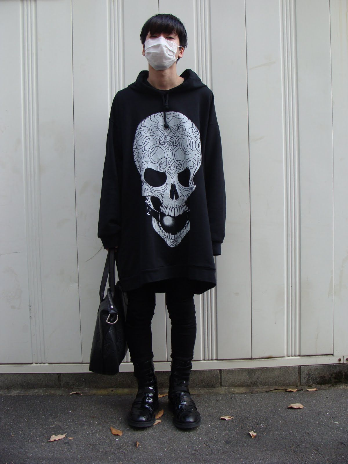 Badass Sweater Black Hair All Black Face Mask Korean Street Fashion Japanese Street Fashion Korean Fashion