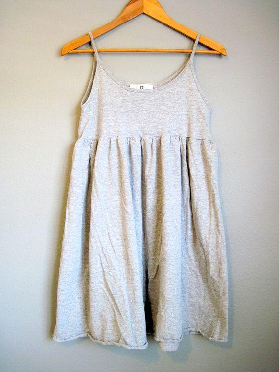Vintage Babydoll Dress Grey Knit Sundress by InTheHammockVintage,