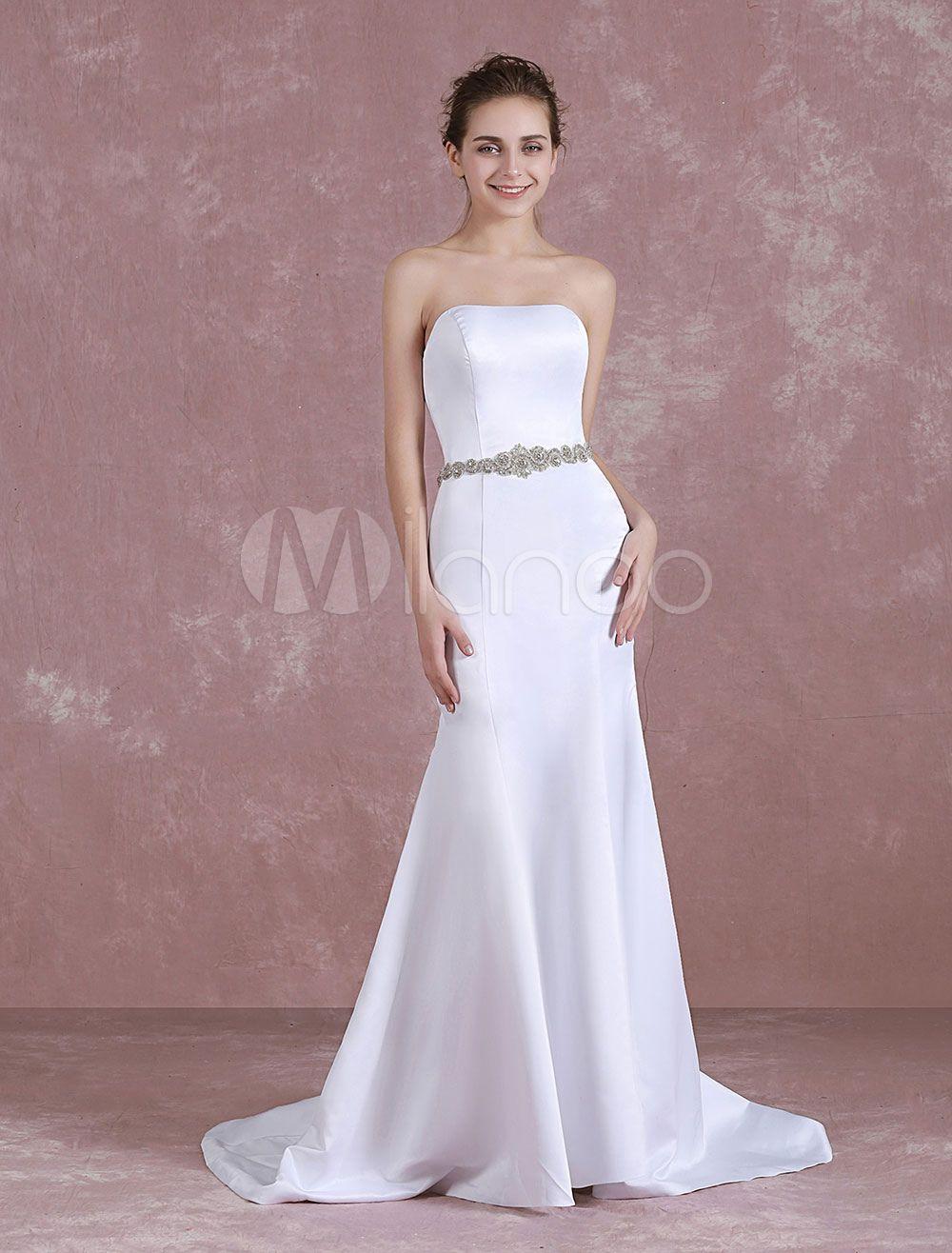 Summer wedding dresses mermaid satin strapless white bridal