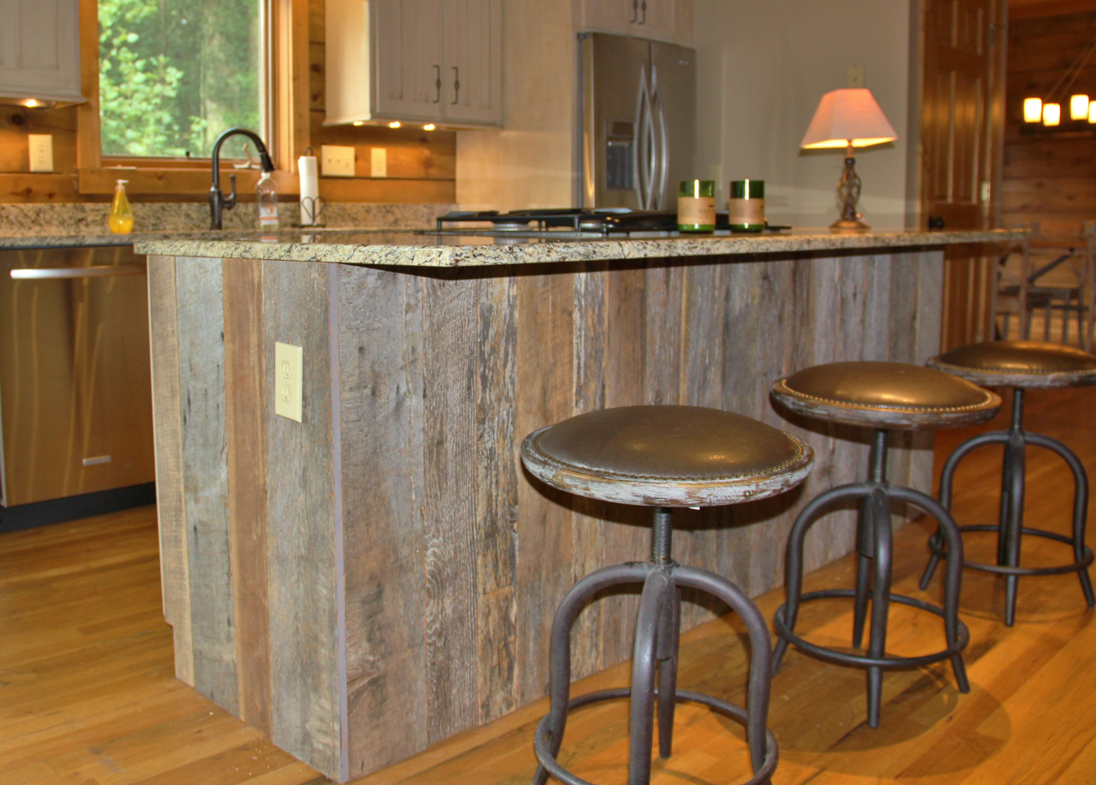 Barn wood wrapped kitchen island VPC Builders