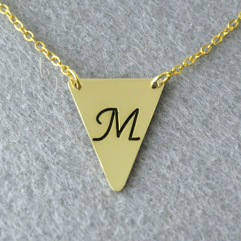 Personalized initials necklace triangle necklace custom initials