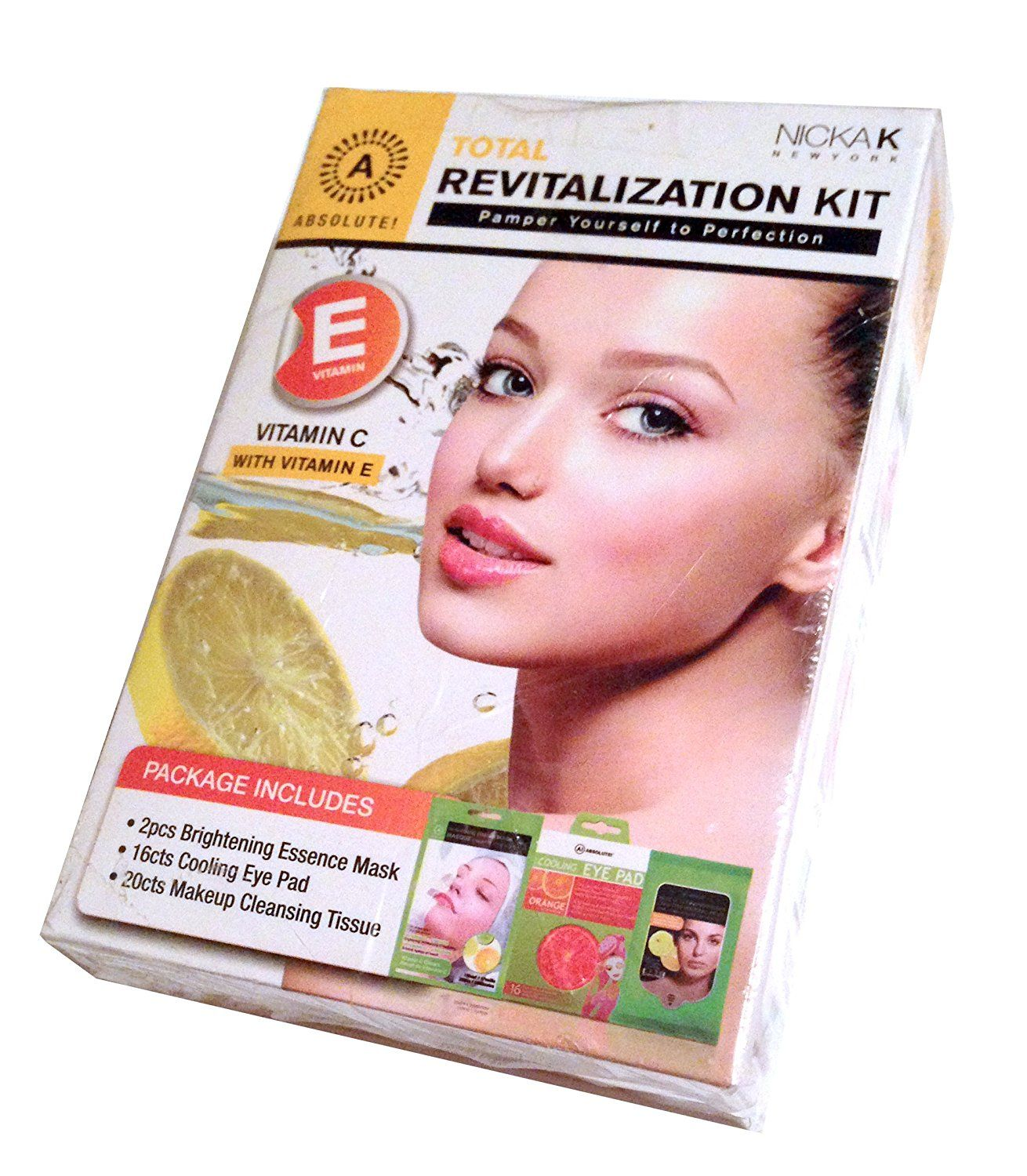 Absolute Total Revitalization Complete At Home Facial Spa Kit with Vitamin E and Vitamin C - Brightening Masks, Cooling Eye Pads, Cleansing Tissues * Click image to review more details.