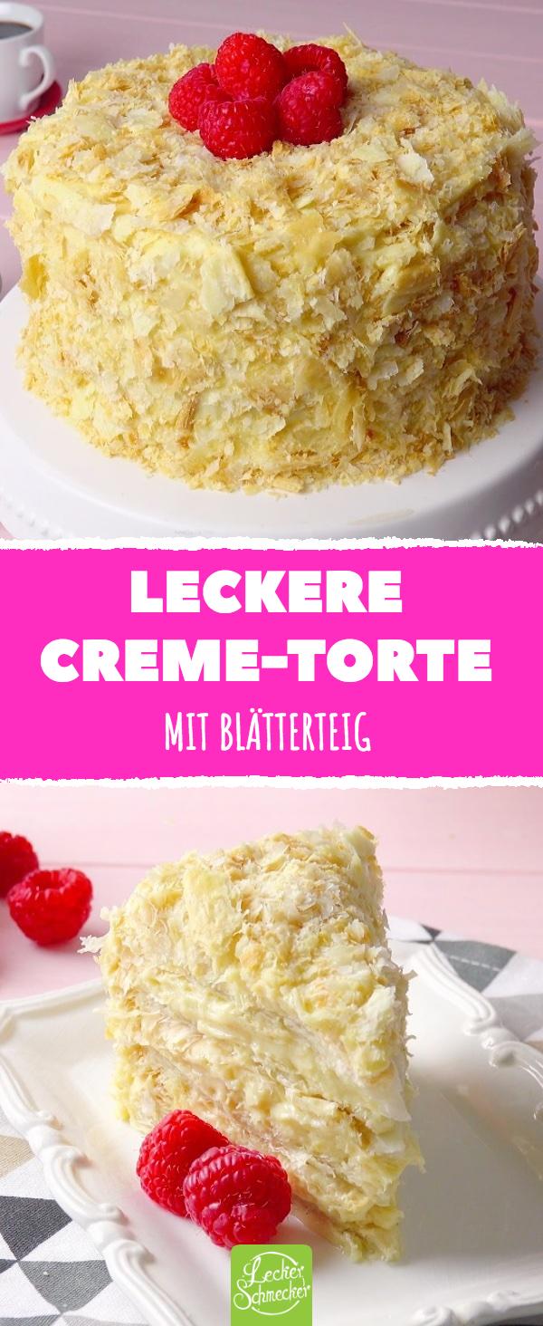 Leckere Creme-Torte Mit Blätterteig #rezepte #torte #vanillecreme #blätterteig #lecker #kuchen #cremepuff