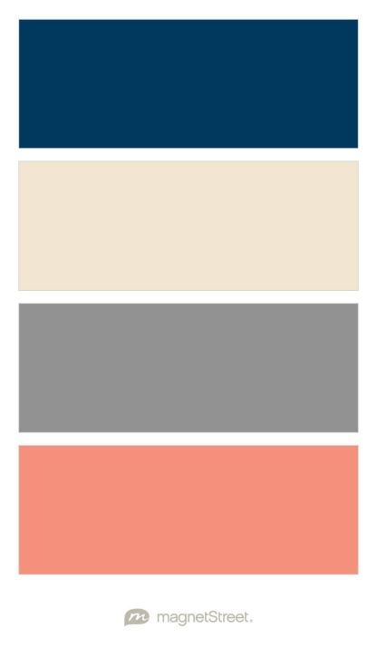 Navy, Champagne, Classic Gray, and Coral Wedding Color Palette - custom color  palette
