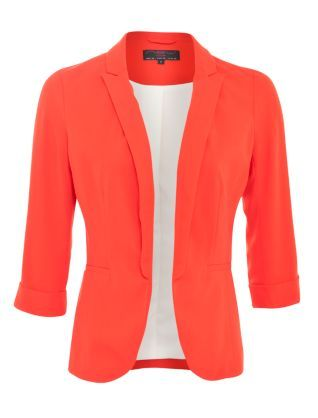 Red (Red) Red Crepe Roll Sleeve Blazer | 269923260 | New Look