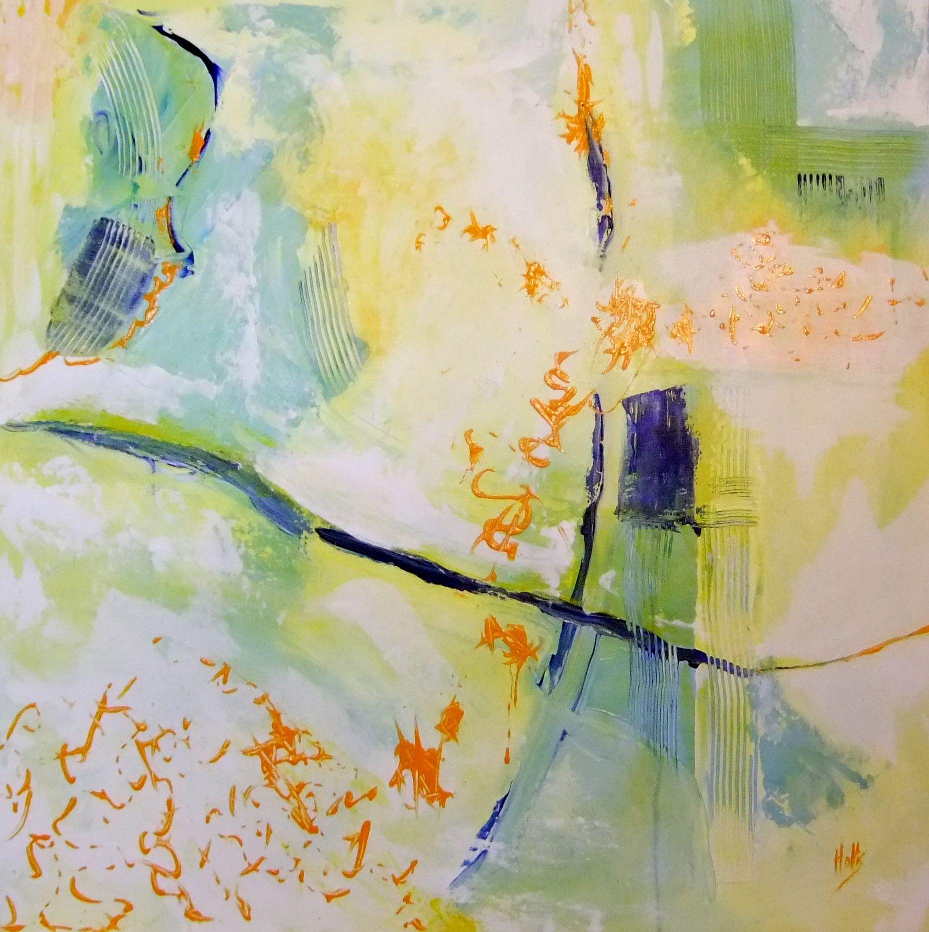 "Flight of Orange 24""x24"" acrylic on gw canvas. $1000.00"