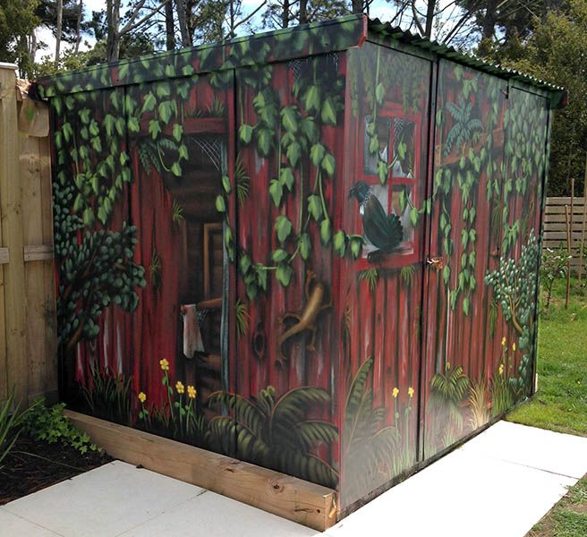 garden shed mural outside walls painted really cool in 2018. Black Bedroom Furniture Sets. Home Design Ideas