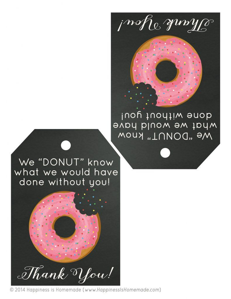 Free Printable Donut Thank You Gift Tags  Donuts Free Printable