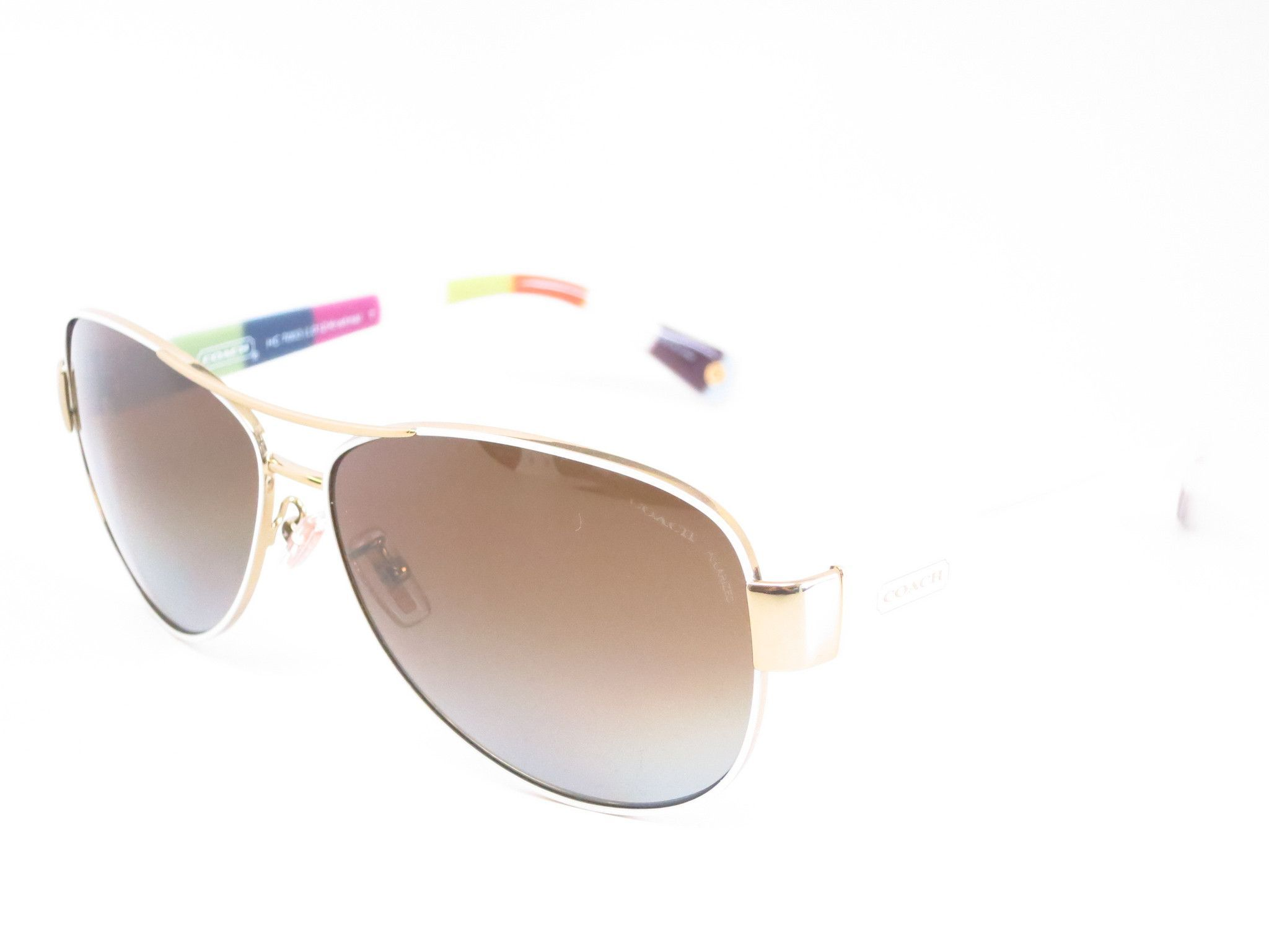 5adc45d932 Coach HC 7003 Kristina 9051 T5 Gold   White Polarized Sunglasses ...