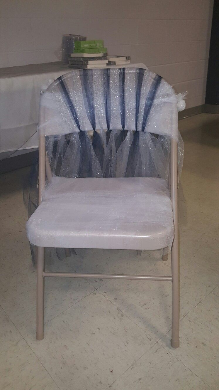 Diy Wedding Or Baby Shower Chair I Made A Fold Up Chair Look Elegant My Cousin Chose Navy Blue And Silve Fold Up Chairs Upholstered Swivel Chairs Used Chairs
