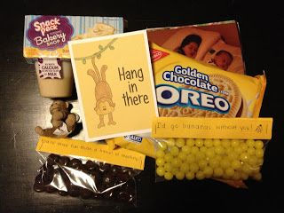 """My sister only has 6 weeks left of her mission so I sent her a """"Hang in there"""" package filled with monkey and banana themed things.   ..."""