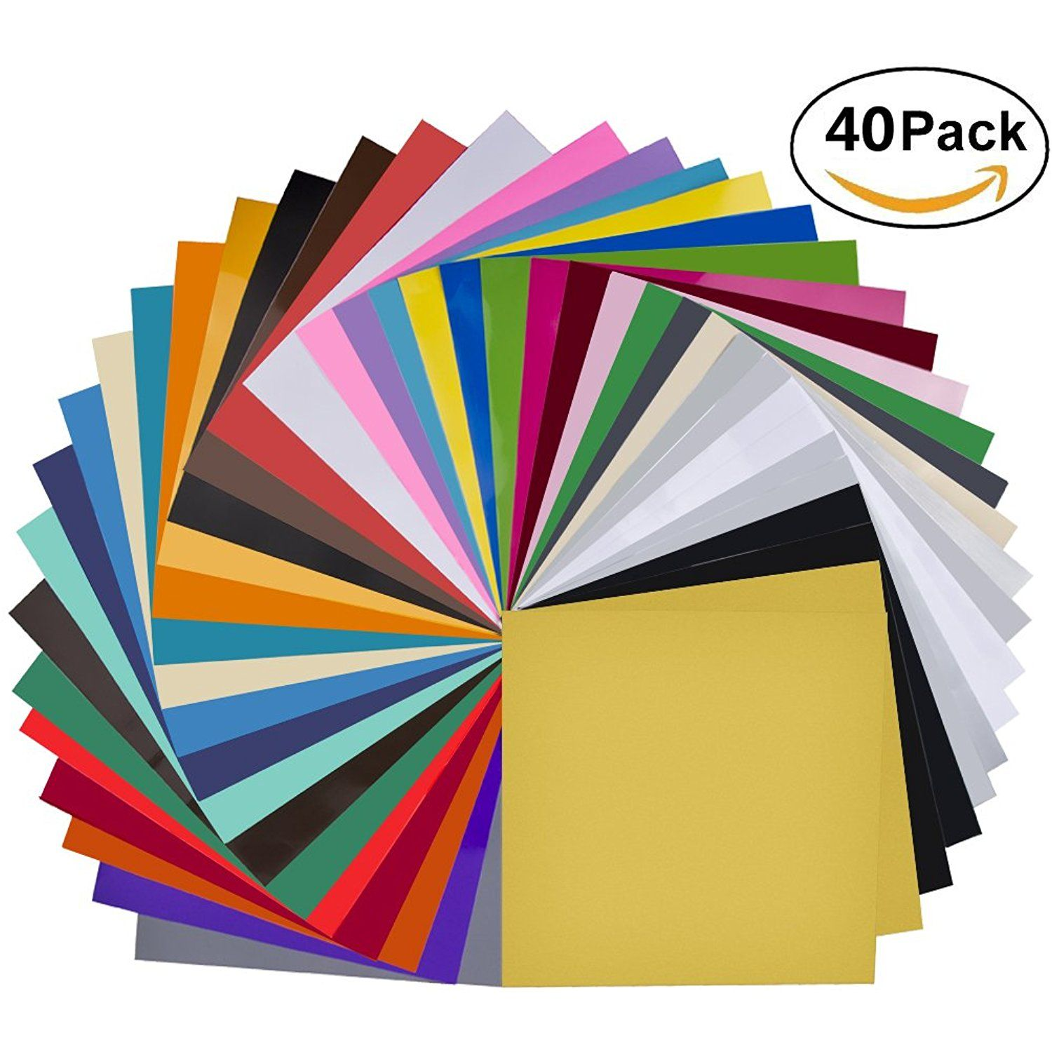 40 Pack 12 X 12 Premium Permanent Self Adhesive Vinyl Sheets Assorted Colors Glossy Matt Silhouette Cameo Crafts Adhesive Vinyl Sheets Arts Crafts Sewing