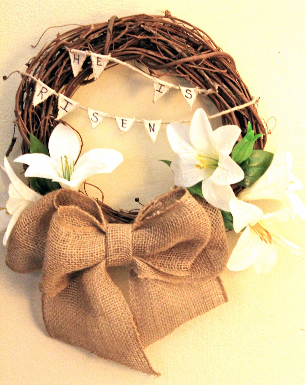 Easter Lily Wreath, Easter Wreath, He is Risen, Door Hanger, wall ...