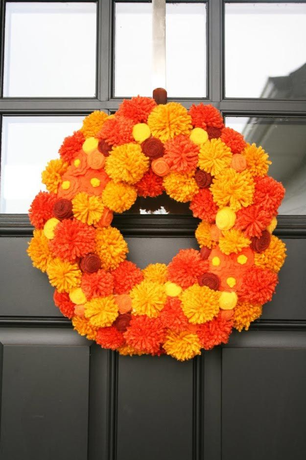 Pom Pom Wreath   9 Fun Fall Wreath Ideas How To Make Front Door Wreaths