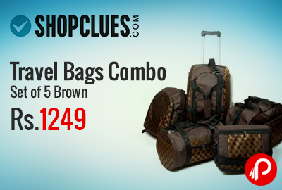Shopclues is offering Urban Style Set of 5 Travel Bags Combo Brown at Rs.1249. 1 Backpack, 1 Duffle Bag, 1 Gym Bag, 1 Travel Kit Bag, 1 Trolley Bag.  http://www.paisebachaoindia.com/travel-bags-combo-set-of-5-brown-at-rs-1249-shopclues/