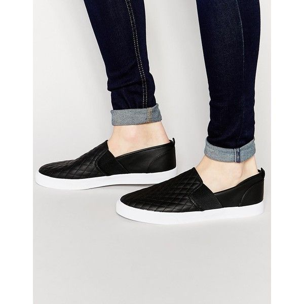 ASOS Slip On Plimsolls in Quilted Black ($13) ❤ liked on Polyvore featuring  men's