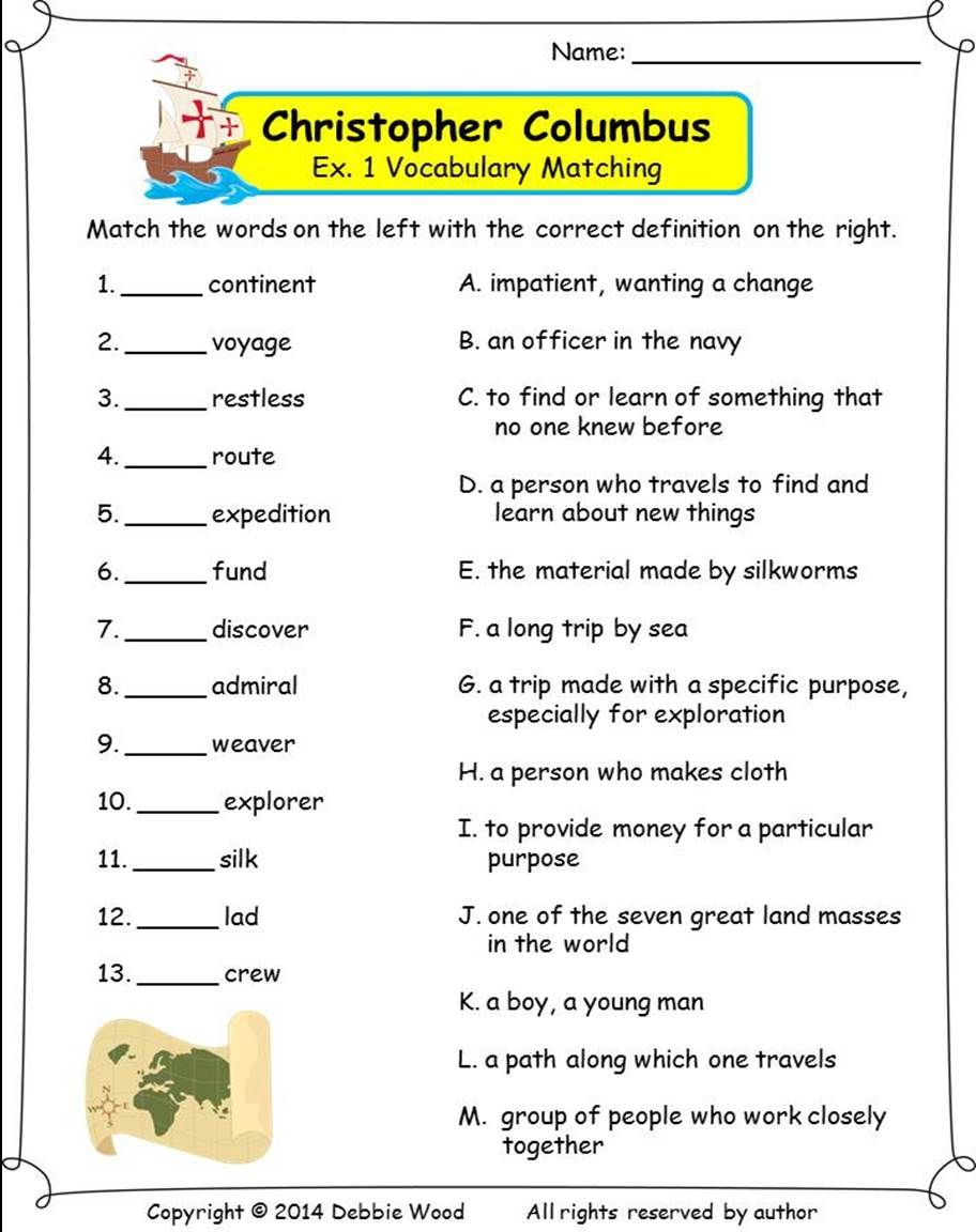 worksheet Christopher Columbus Worksheets Middle School christopher columbus grammar review wh questions and reading vocabulary strip story word fun