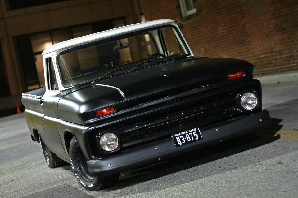 two tone satin black & white Dropped trucks, Truck yeah