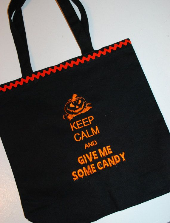 Embroidered Trick or Treat Halloween Bag Keep Calm and Give Me Some - decorate halloween bags