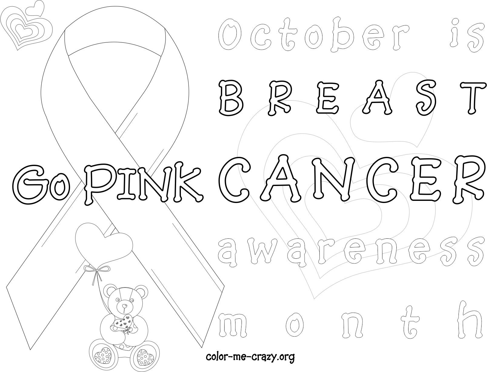 Breast Cancer Ribbon Coloring Page | Breast Cancer Awareness Month ...