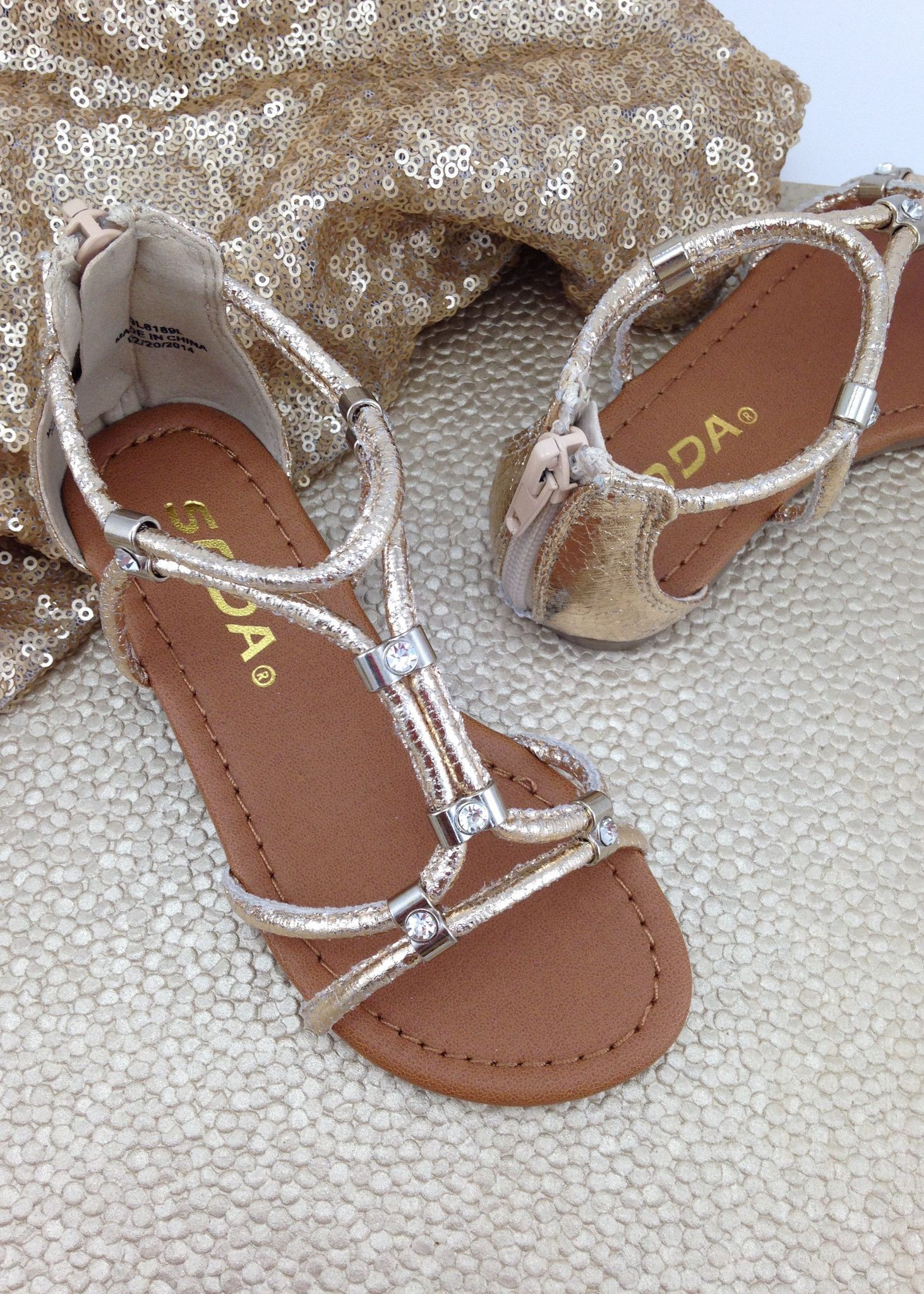 Girls gold gladiator sandals sandals gold and open toe