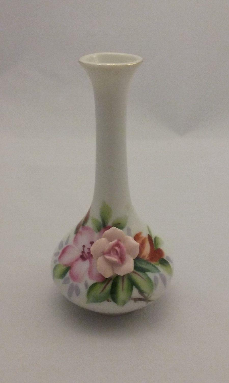 Occupied Japan Bud Vase Vintage 1940u0027s Hand Painted Porcelain Applied  Flower Curvy Vase Small Petite Floral