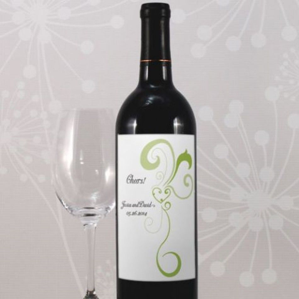 Personalized Wine Bottle Labels - Heart Filigree Wine Label (11 ...