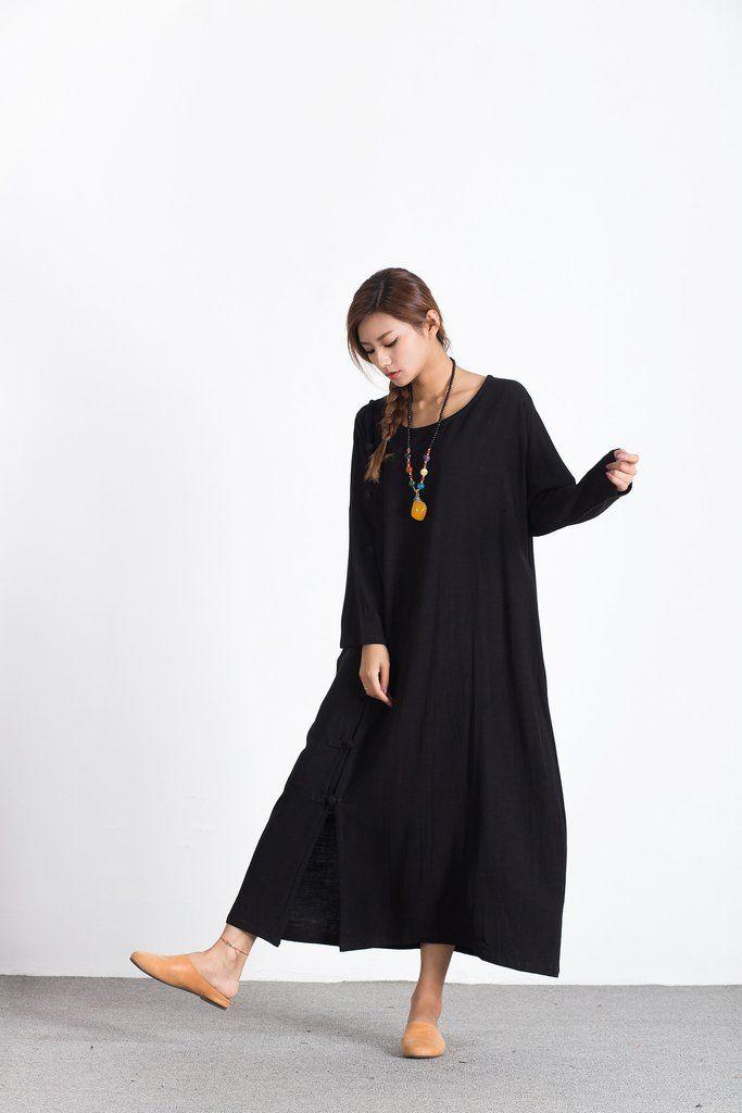 d60cb77a1d0 Oversize Linen Cotton Loose maxi black  dress plus size  clothing  Custom  made A92