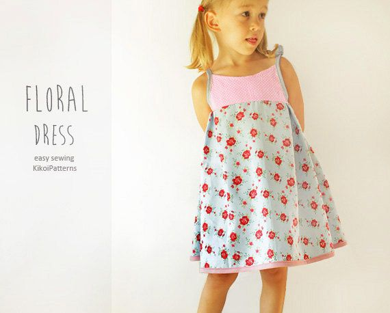 104b45092c60 Floral girls DRESS sewing pattern - easy summer toddler dress pdf tutorial  - from 1 year to 8 years