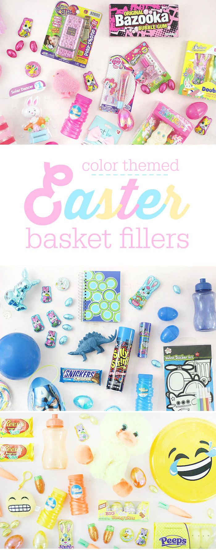 Color themed easter basket fillers pink blue yellow orange for pink blue yellow orange for the perfect baskets budget friendly options available at family dollar negle Gallery