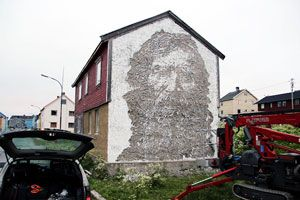 2 New Walls from Vhils in Vardø, Norway – view more (etched) images @ http://www.juxtapoz.com/Street-Art/2-new-walls-from-vhils-in-vardo-norway – #streetart #komafest #vhils