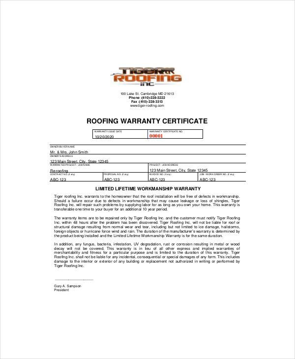 Warranty Certificate Template Free Word Pdf Documents Download