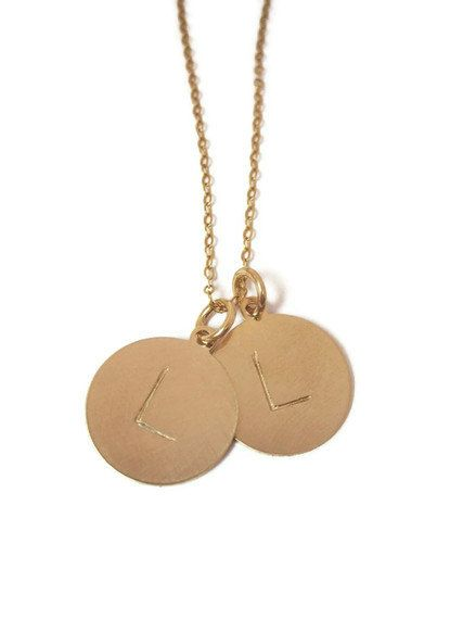 Hand stamped jewelry TWO 15mm disc gold initial by underhercharm, $60.00