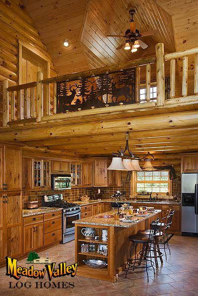 Kitchen With Sitting Loft Above Log Home Kitchens Log Home Interiors Log Homes