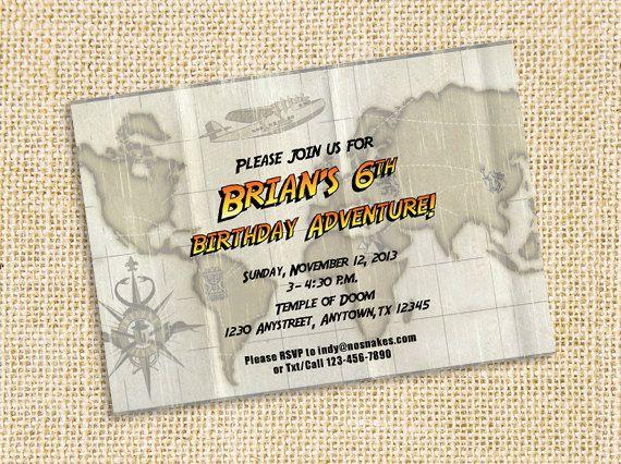 Printable Invitation Downloadable Indiana Jones by CardsnLetters – Indiana Jones Party Invitations