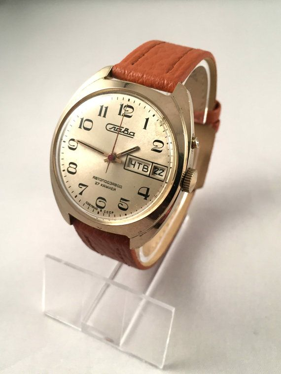 slava fabulous chunky soviet mens watch 27 jewels automatic vintage men s watch slava automatic 27 jewels by sovietempire