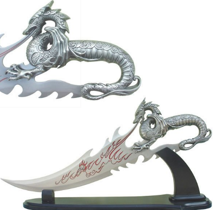 Fire Dragon Dagger with Display Stand