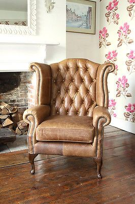 high back chesterfield sofa deep sofas queen anne wing chair in vintage tan leather