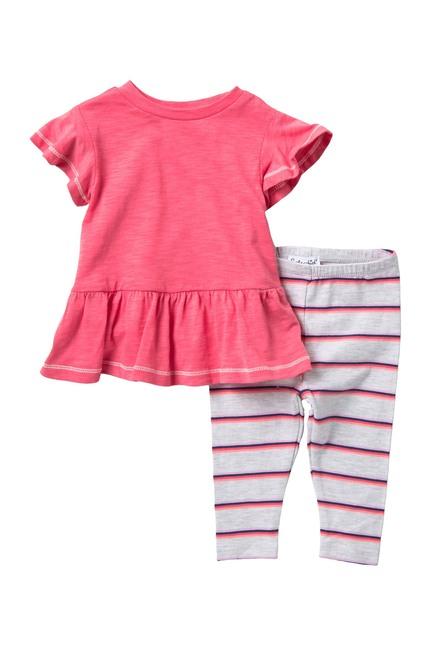 Splendid | Peplum Top & Striped Leggings Set (Baby Girls) | Nordstrom Rack #stripedleggings