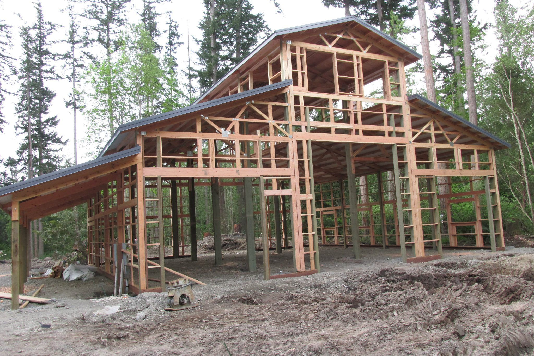 monitor style barn in progress anacortes wa constructed by