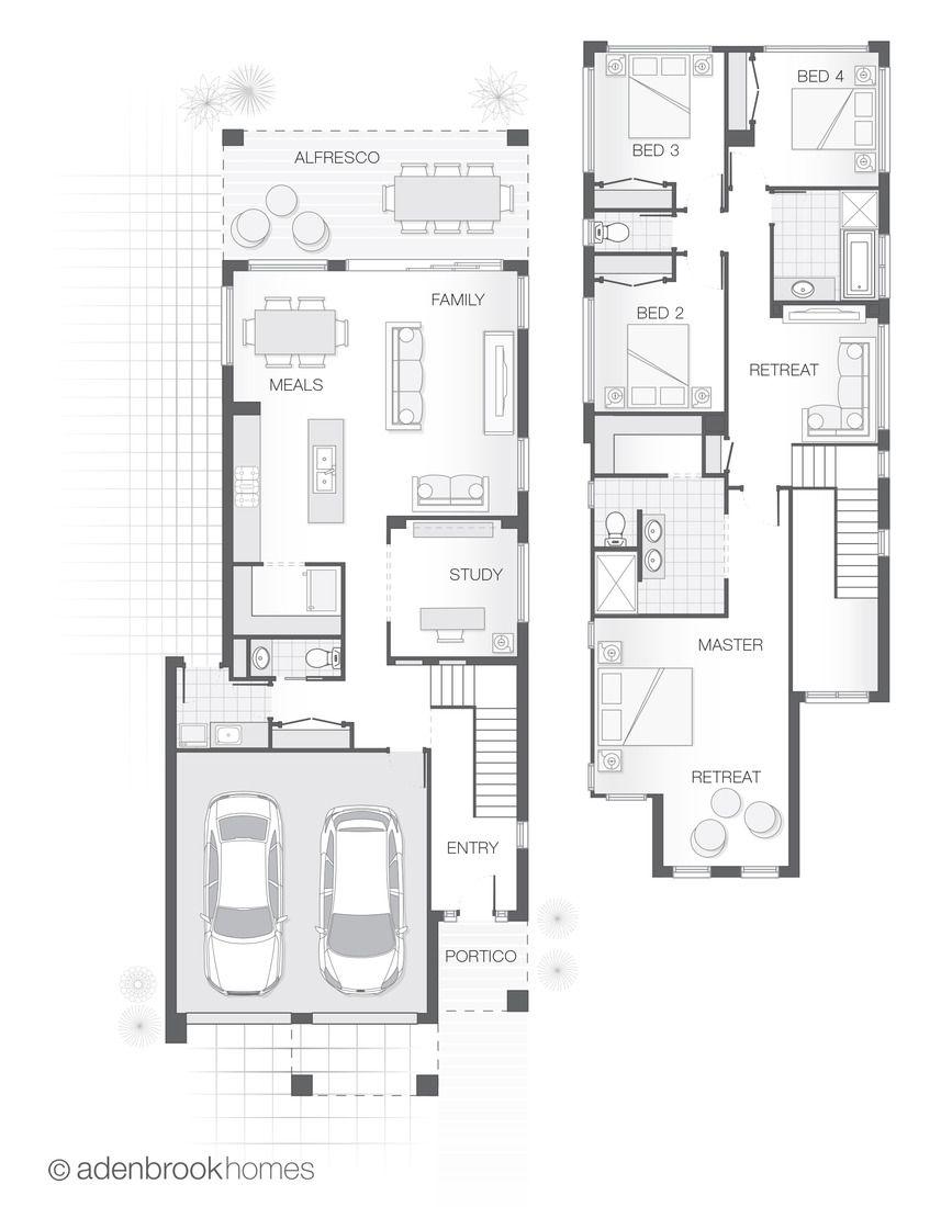 The Ascot Standard Design Floor Plan Adenbrook Homes Double Storey Home Design 275 6m2 4 Bed Architectural Floor Plans Narrow House Plans Floor Plans