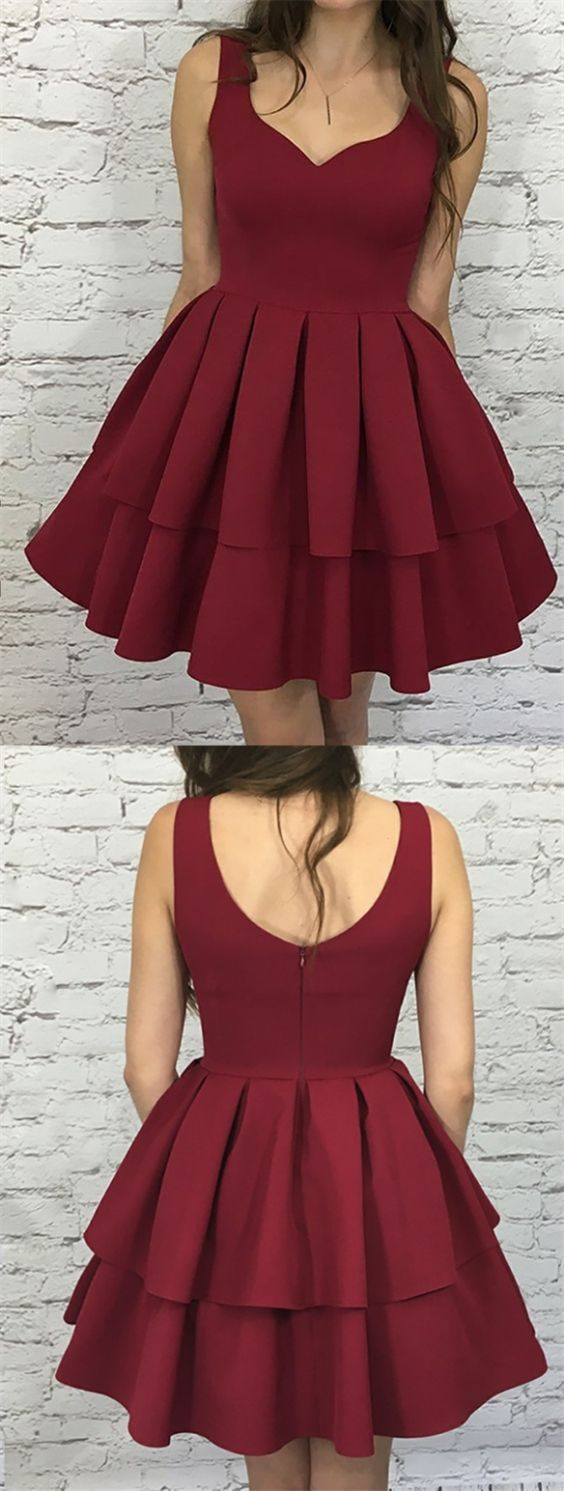 Aline scoop sleeveless short tiered burgundy homecoming party dress