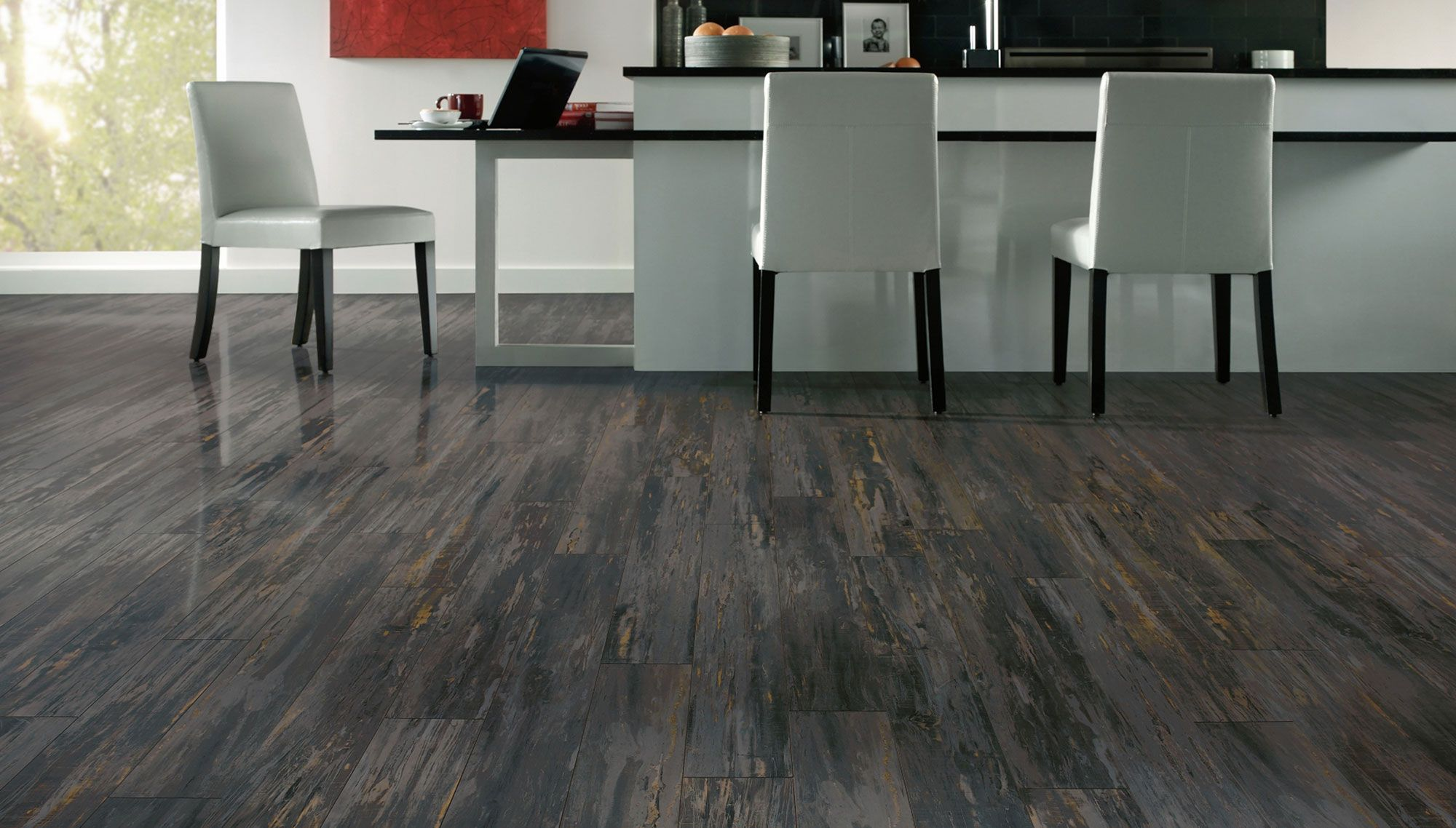 Floor Stunning Grey Laminate Flooring Below White Cushion Chairs And Rectangle Modern Table Fake Wood Flooring Wood Laminate Flooring Grey Laminate Flooring