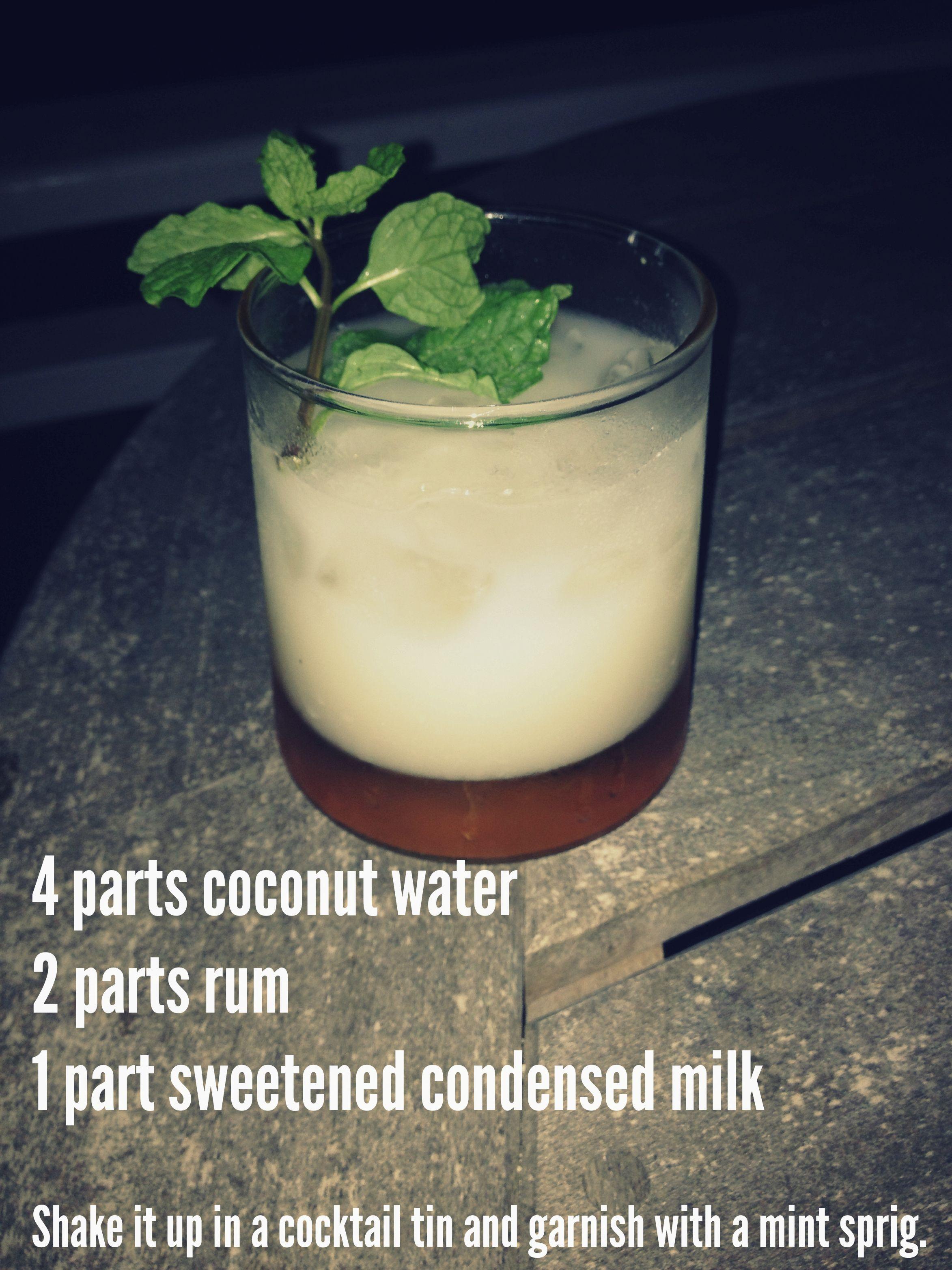 Sky Juice Is A Simple Mixture Of Coconut Water Sweetened Condensed Milk And Rum Bahamian Food Fancy Drinks Tropical Drink