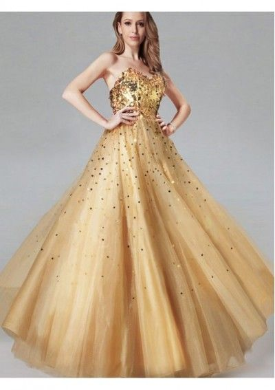 db6b9ef63d Ball Gown Golden Tulle Sweetheart with Sequins Floor-length Prom Dress  pm4608 - Prom Gowns - Wedding Dress Online Sale