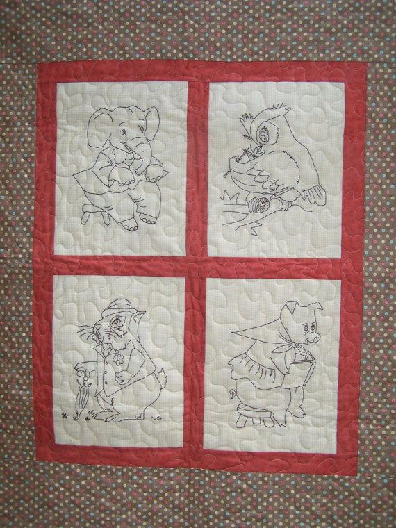 Animal Fun Hand Embroidery And Baby Quilt Pattern By Prettypmamab