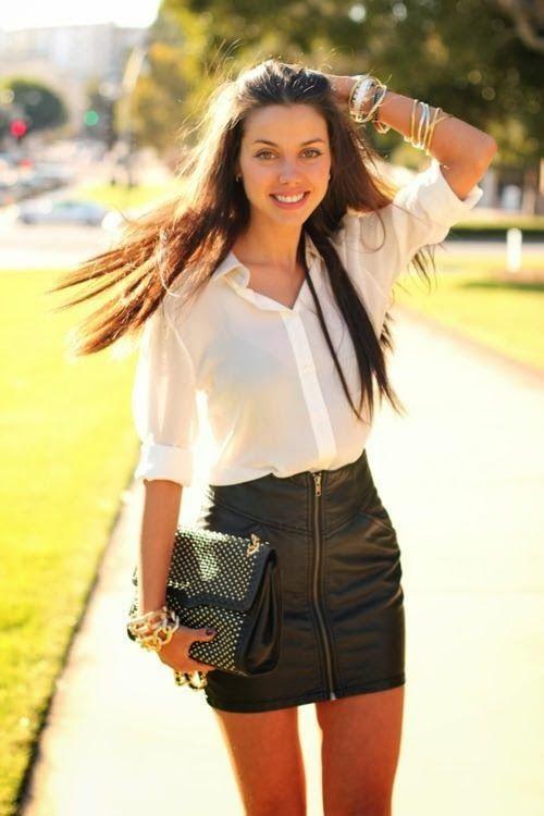 White shirt with black leather skirt | Fashion, Mini skirts, Fall mini skirt