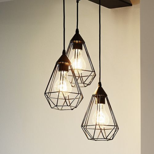 Photo of Structured pendant lamp Tarbes, 3-light sources