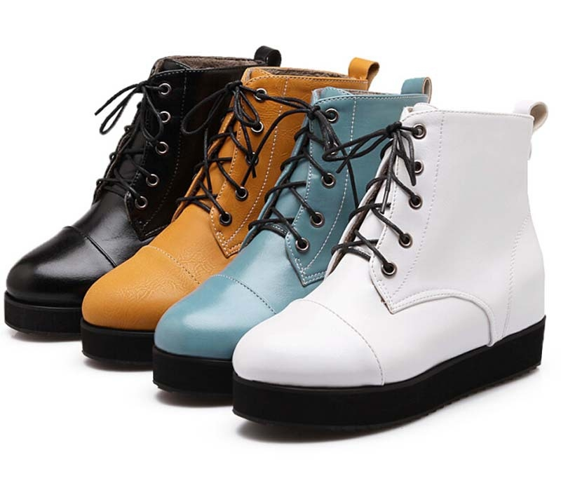 63.72$  Watch now - http://ali1b8.worldwells.pw/go.php?t=32421227814 - ENMAYER  New boots Winter women ankle boots platform solid Round Toe Lace Up Fashion round toe Knight boots size 34-43 sale 63.72$